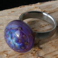 The blue Glass finger ring